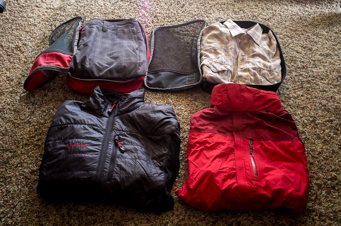 Some of the quick-dry clothing that I am packing.