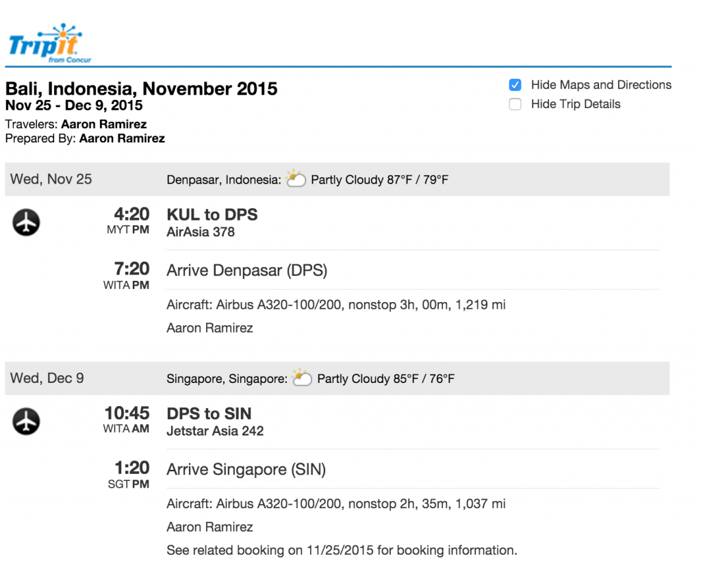TripIt itinerary example